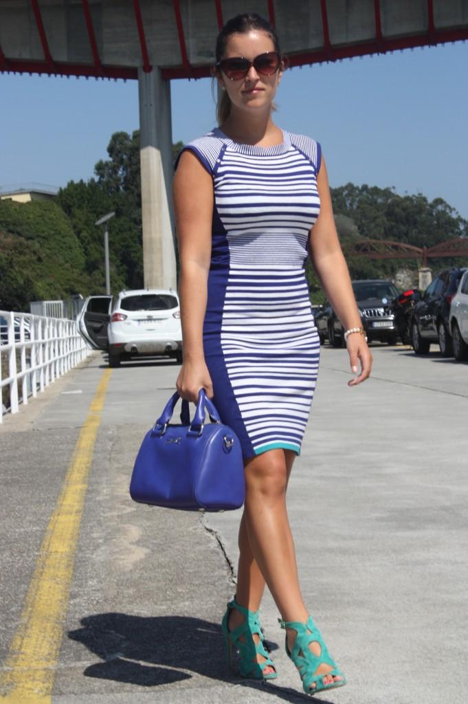 vestido rayas karen millen azul